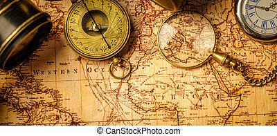 experiência., viagem, conceito, navegação, geografia