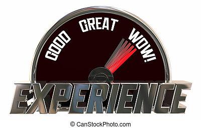 Experience Level Rating Good Great Wow Speedometer 3d Illustration