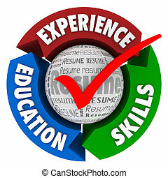 Experience Skills Education Resume Check Mark Arrows Circle