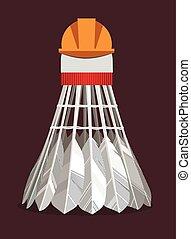 Experienced badminton shuttlecock  in a protective helmet