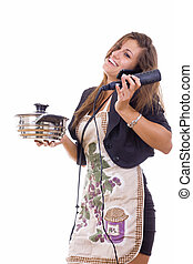experienced business woman cooking and talking on the phone