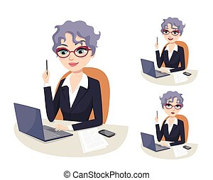 Successful female senior executive CEO with grey hair and eyeglasses working on computer. Professional career powerful woman in Politics. Lawyer, Politician, senator, congresswoman. Isolated vector illustration. Facial expressions