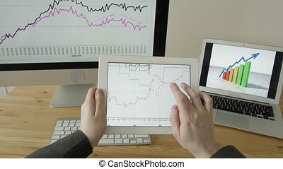 Experienced Businessman Looking at Financial Data with Graphics and charts POV in Office.