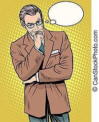 Experienced businessman thinks