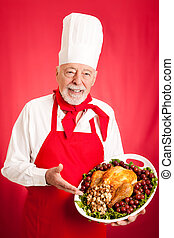 Experienced Chef Holding Holiday Dinner - Handsome, ...