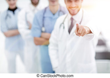 experienced doctor showing forward
