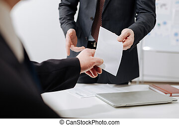Experienced employee receiving the dismiss notification from the employer