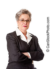Experienced female business lawyer in suit. Beautiful Senior old woman with arms crossed, isolated.