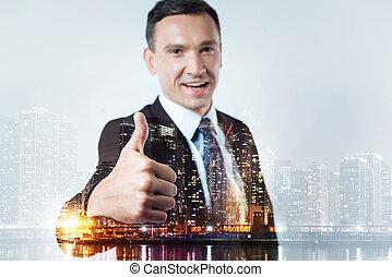 Experienced leader raising thumb up