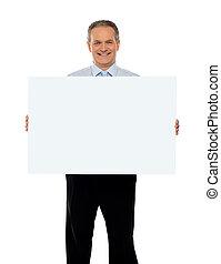 Experienced male representative with ad board