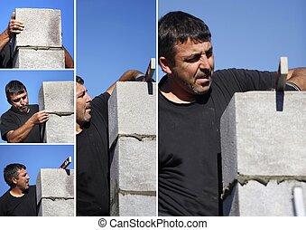 experienced man making a wall