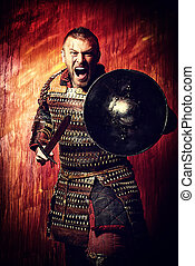 experienced - Portrait of a courageous ancient warrior in ...