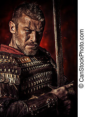 experienced - Portrait of a courageous ancient warrior in...
