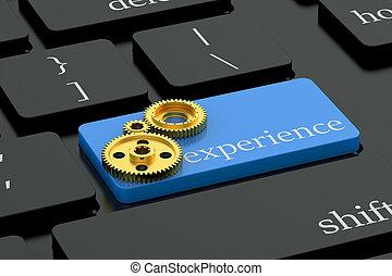 experiencia, concepto, en, azul, teclado, botón