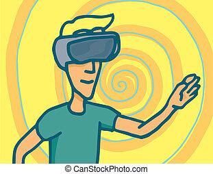 Experiencing virtual reality goggles headset - Cartoon...
