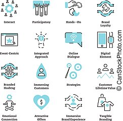 Experiential marketing flat icon collection set vector ...