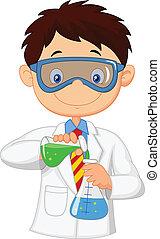 experime, fiú, kémiai, karikatúra