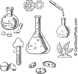 Experiment and scientific sketch icons - Experiment and...