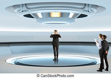 Experiment concept - Pensive man trying to teleport with...