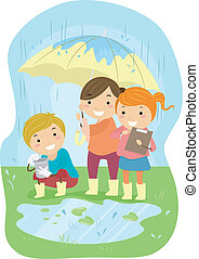 Experiment Kids - Illustration of Kids Conducting an...