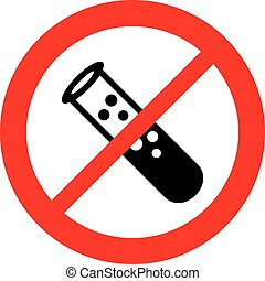 experiment with liquid test tube not allowed sign (prohibition icon)