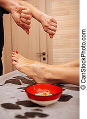 experimentado, cliente, pouting, óleo, córregos, ativo, mestre, pernas