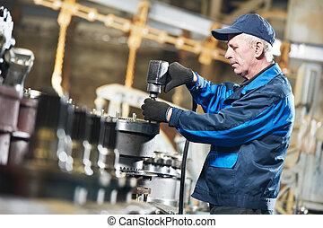 experimentado, industrial, assembler, trabajador