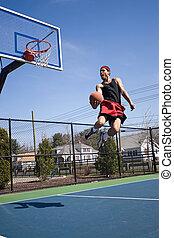experimentado, jogador, basquetebol