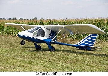 Experimental plane in a field