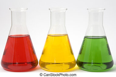 Experimental science - Coloured chemicals in glass...