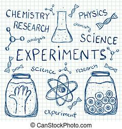 experimenten, papier, squared, wetenschappelijk