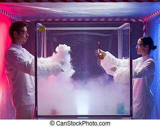 experimenting in a sterile chamber