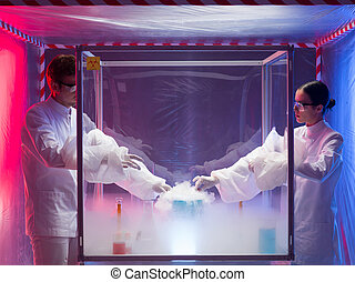 experimenting with liquid nitrogen in protective enclosure