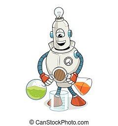 experimento de la ciencia, vector, caricatura, robot
