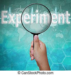 experimento, palabra, en, lupa, plano de fondo, médico
