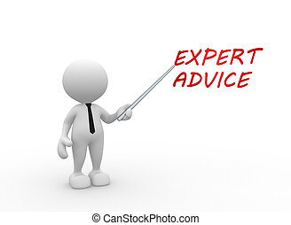 3d people - man, person presenting concept of expert advice.