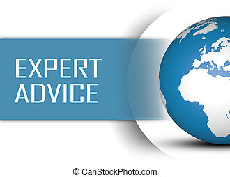 Expert Advice concept with globe on white background