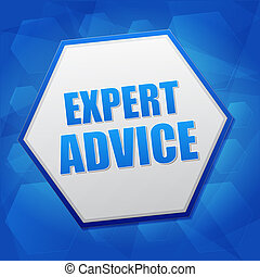 expert advice in hexagon, flat design