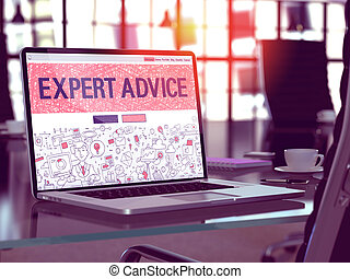 Expert Advice on Laptop in Modern Workplace Background.