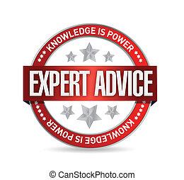 expert advice seal illustration design over a white...