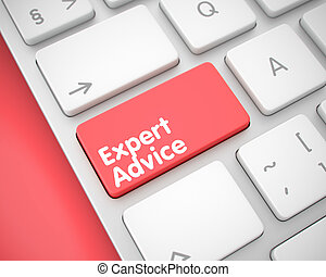 Expert Advice - Text on the Red Keyboard Keypad. 3D.