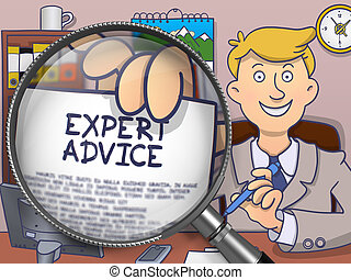 Expert Advice through Lens. Doodle Concept.