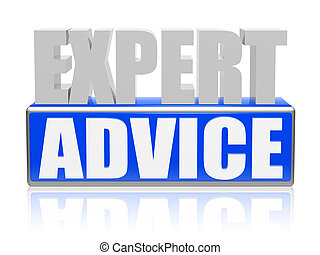 expert advise in blue white banner - letters and block -...