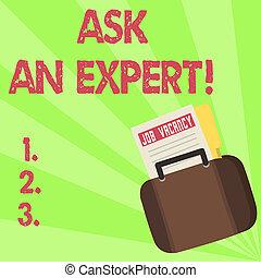 expert., concept, tekst, raad, question., betekenis, vragen, raadplegen, vragen, professioneel, handschrift, maken
