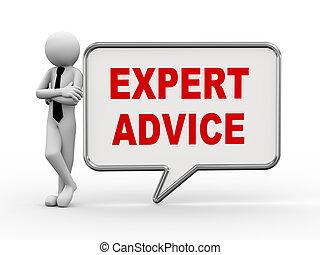 expert, conseil, -, parole, homme affaires, bulle, 3d