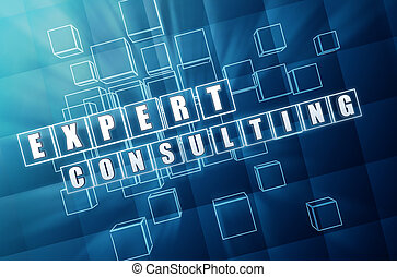 expert consulting in blue glass cubes - expert consulting -...