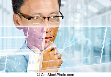 An expert businessman studying a high technology holographic chart of a real time foreign currency exchange graphic