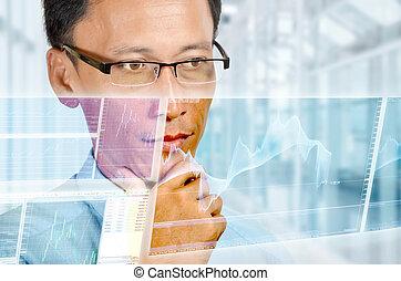 Expert Finacial Businessman - An expert businessman studying...