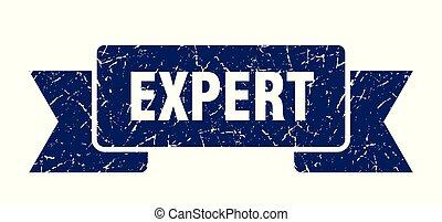 expert grunge ribbon. expert sign. expert banner