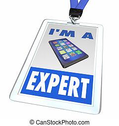 expert, illustration, téléphone portable, magasin, employé, nouveau, écusson, intelligent, 3d